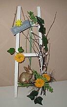 Türkranz Frühjahrsdeko Dekoleiter mit verschiedenen Tieren Handarbeit 42 cm - Frühling - Ostern - Willkommensgruß 220 (mit Hase)