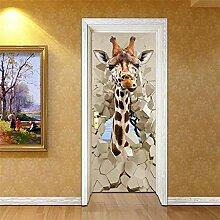 Türposter Selbstklebend 3D Giraffe 3D