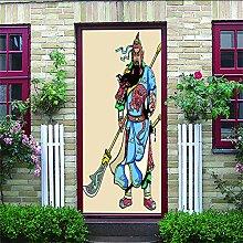 Türposter Selbstklebend 3D Guan Yu 3D