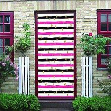 Türposter Selbstklebend 3D Rosa Und Schwarze