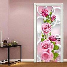 Türposter Selbstklebend 3D Rote Rose 3D
