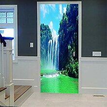Türposter Wasserfall 3D Türaufkleber