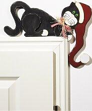 Türrahmendeko Katze, schwarz