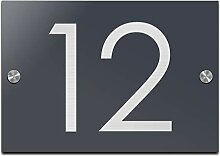 Türschild Hausnummer mit Gravur aus Acrylglas