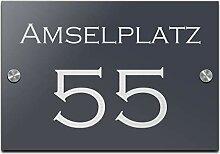 Türschild Hausnummer mit Gravur Schild aus