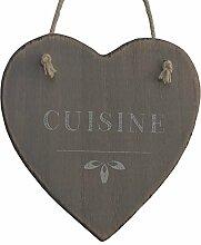 Türschild, Küche Herz Holz Seil 13cm