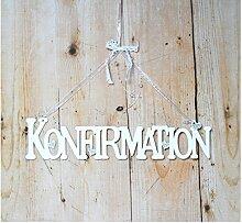 Türschild Schild Schriftzug Konfirmation weiss aus Holz Kunststoff mit Schmuckbändern 9 x 39 cm