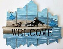 Türschild WELCOME Holz mit Robben 29 x 23 cm Schild Wandschild