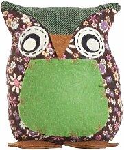 Türstopper als Eule in grün, Bezug aus 85% Polyester und 15% Baumwolle mit Sandfüllung, Maße: B/H ca. 20/15 cm