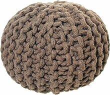 Türstopper Boden Textil Baumwolle gestrickt superweich und schonend für den Boden / Nachbildung vom großen Sitzhocker (Pouf) braun