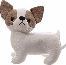 Türstopper Chihuahua Polyester Sand Watte 24 x 16 x 11 cm weiß-braun Hund