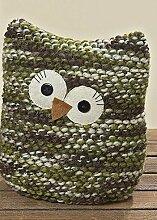 Türstopper Eule mit Knopfaugen Türanschlag Türsack 20 cm grün
