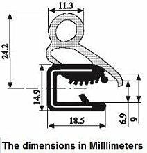 Türstopper, Gummi, groß, 24,2x 20x 2,1mm–9mm, 35mm hoch