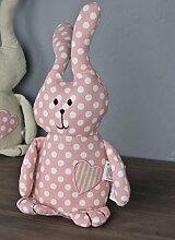 Türstopper Hase Bunny grau rosa Punkte Kissen Doorstop + Füllung Deko Sand (Rosa)