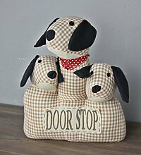 Türstopper Hund Dog beige Kissen drei Köpfe Doorstop + Füllung Deko Sand