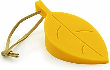 Türstopper im Design Blatt, aus Silikon, Türpuffer, Klemmschutz, Türstop, Bodenstopper, Gummi-Stopper, Tür-Kei, Marke Ganzool (Gelb)