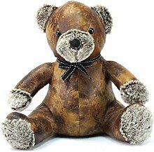 Türstopper in Teddyform aus Kunstleder (33,3 cm) (Braun/Grau)