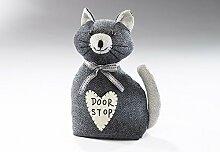 Türstopper Katze `Milli` schwarz aus Stoff gefüllt mit Sand