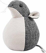 Türstopper Maus Türsperre Retro-Stil Stoff Grau 17cm