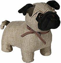 Türstopper Mops Hund aus Stoff, braun