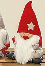 Türstopper Wichtel Zwerg Weihnachtsmann Theo 1 Stück Höhe 30 cm mit Sack Lustiger Zwerg
