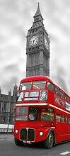 Türtapete (97517)- BIG BEN- 90 x 200 cm, 2 Teile (45x200 cm) - hoch qualitativer fotorealistischer DIGITALDRUCK!- London Stadt England - Türdekor Türposter Fototapete Motivtapete Riesenposter
