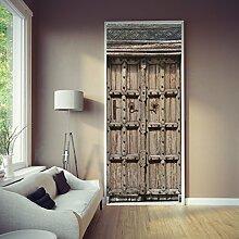 Türtapete Antike Tür 86 x 200 cm Holz Eingang Struktur Vintage Alt Asien Rustikal Tapete Fototapete inklusive Kleister