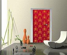 Türtapete Barock Rot Muster Tapete Kunstdruck Türbild   80 x 200cm (B x H)   Vlies