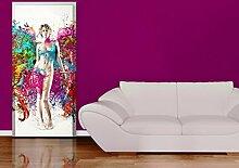 TürTapete Beflügelte Gedanken Tapete Frau Engel Erinnerungen Ideen Farben, Größe:221cm x 93cm