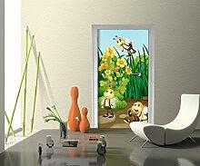 Türtapete Bienen im Garten Tapete Kunstdruck Türbild M0498 | 100 x 200cm (B x H) | Papier