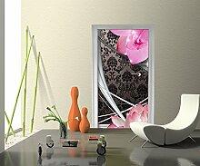 Türtapete Blüten Ornament Tapete Kunstdruck Türbild   90 x 200cm (B x H)   Dekorfolie selbstklebend