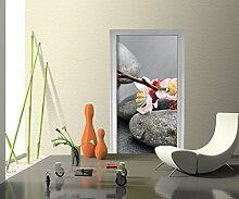 Türtapete Blumenast und Steine Tapete Kunstdruck Türbild | 80 x 200cm (B x H) | Dekorfolie selbstklebend