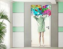 TürTapete Brain Explosions Tapete Frauen Kunst Kreativität Regenbogen Ideen, Größe:221cm x 118cm