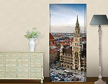 TürTapete City of Munich Motivtapete Türdesign München Stadt Skyline Urlaub, Größe:221cm x 106cm