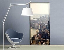 TürTapete Der Morgen in New York Tapete Big Apple Metropole Silhouette, Größe:208cm x 118cm