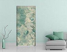 TürTapete Eisblumen Tapete Winter Floral Dekoration Schnee Transparenzen, Größe:221cm x 81cm