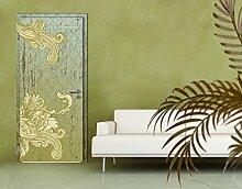 TürTapete Floraler Barock Tapete Muster Struktur Ornament Ranke Grün, Größe:208cm x 93cm