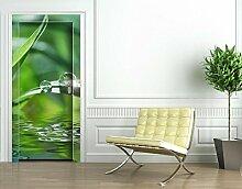 TürTapete Green Ambiance II Tapete Wasser Pflanze Tropfen Blätter Natur, Größe:221cm x 93cm