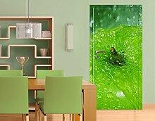 TürTapete Green Apple Tapete Obst Grün Küche Süß Lecker, Größe:208cm x 118cm