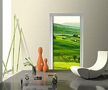 Türtapete Grüne Toskana Tapete Kunstdruck Türbild M0512 | 100 x 200cm (B x H) | Vlies