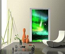 Türtapete Grünes Nordlicht Tapete Kunstdruck Türbild M0475 | 70 x 200cm (B x H) | Papier