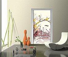 Türtapete Haruka Retro Blüten Tapete Kunstdruck Türbild M0057 | 100 x 200cm (B x H) | Papier