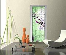 Türtapete Holz Blüten Zweig Tapete Kunstdruck Türbild M0542 | 70 x 200cm (B x H) | Dekorfolie selbstklebend