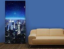 TürTapete Illuminated New York Tapete Amerika Nacht Stadt Metropole Big Apple, Größe:221cm x 81cm