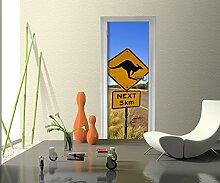 Türtapete Känguruschild Tapete Kunstdruck Türbild M0421 | 70 x 200cm (B x H) | Dekorfolie selbstklebend