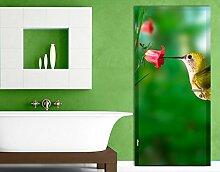 TürTapete Kolibri und Blüte Tapete Amerika Vogel Blume Pflanze Fliegen, Größe:221cm x 118cm