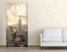 TürTapete Manhattan Dawn Motivtapete Türdesign Stadt Skyline New York Amerika, Größe:208cm x 81cm