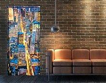 TürTapete Midtown Manhattan Tapete Amerika Nacht Stadt Metropole Big Apple New, Größe:221cm x 81cm