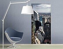 TürTapete Mitten in New York Tapete Big Apple Metropole Silhouette Hochhäuser, Größe:208cm x 93cm