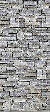 Türtapete Natursteinmauer Grau TT217 90x200cm Tapete Stein Sandstein Mauer